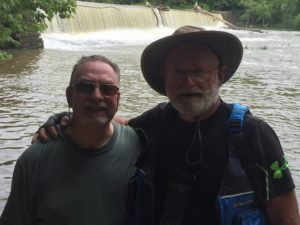 Mike Johnson, L, Pat Stith on Day One, after portaging around Milburnie Dam