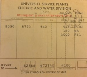 Our bill in 1966, for rent, water and electricity, totaled $41. Adjusted for inflation, that's $315.82 in 2017 dollars.