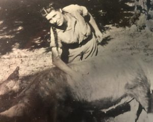 We raised hogs to eat. This is one of them, with my mother, Alice Cameron Stith.