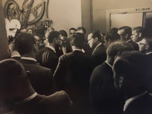 This photo was made on that same trip with the national reporters did have an opportunity to question Nixon.